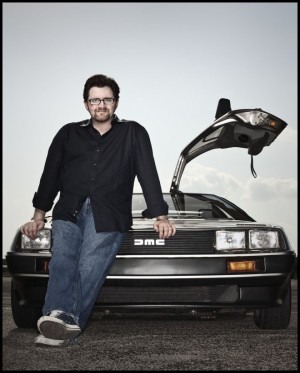 Ernest Cline with his Delorean