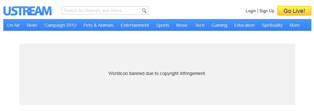 Worldcon banned by UStream for copyright infringement